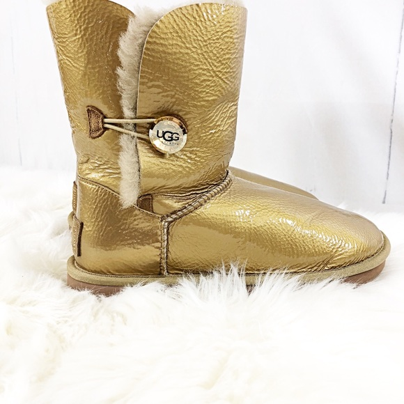 c94c921aa50 UGG Bailey Button Mirage Boots Size 10 M Gold NWOB